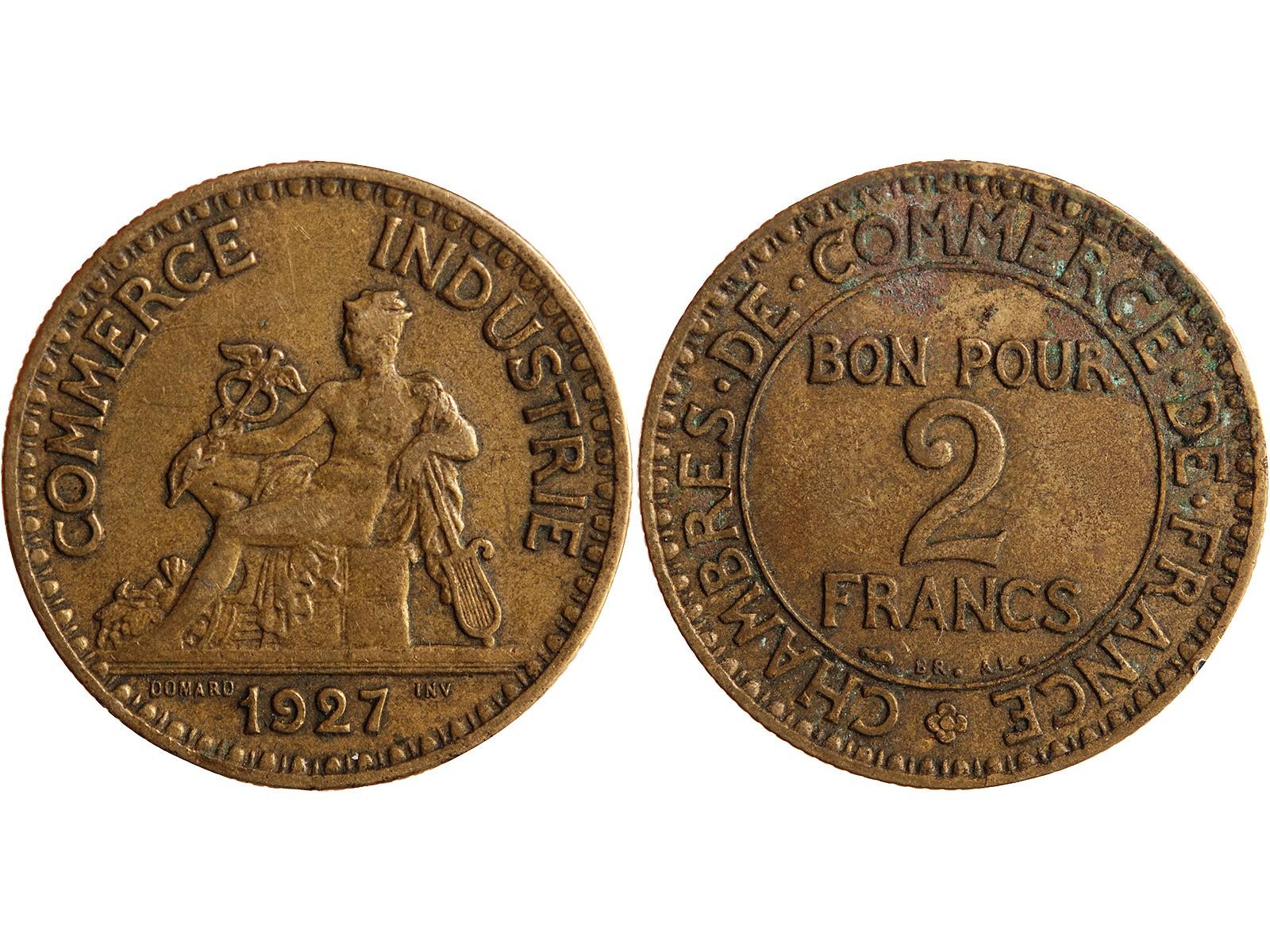Chambre de commerce 2 francs 1927 for Chambre de commerce des bois francs