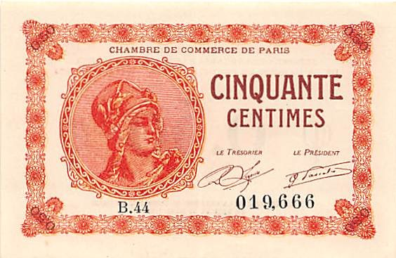 Chambre de commerce de paris 50 centimes 1920 suffren for Chambre de commerce de paris