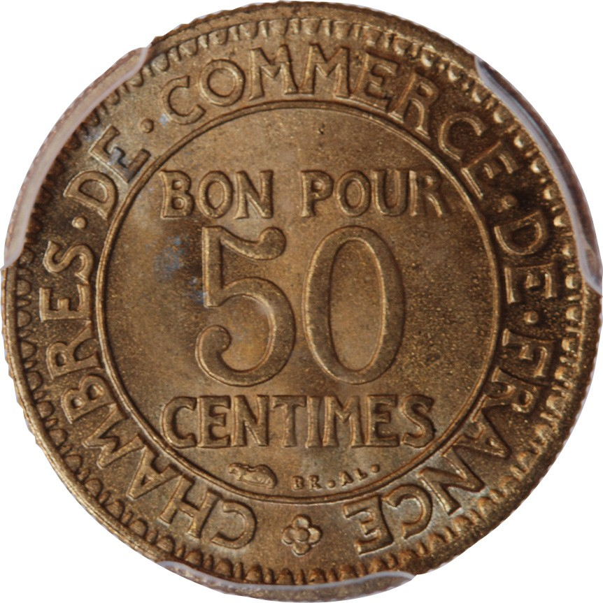 Chambre de commerce 50 centimes 1923 pcgs ms66 for Chambre de commerce de maniwaki