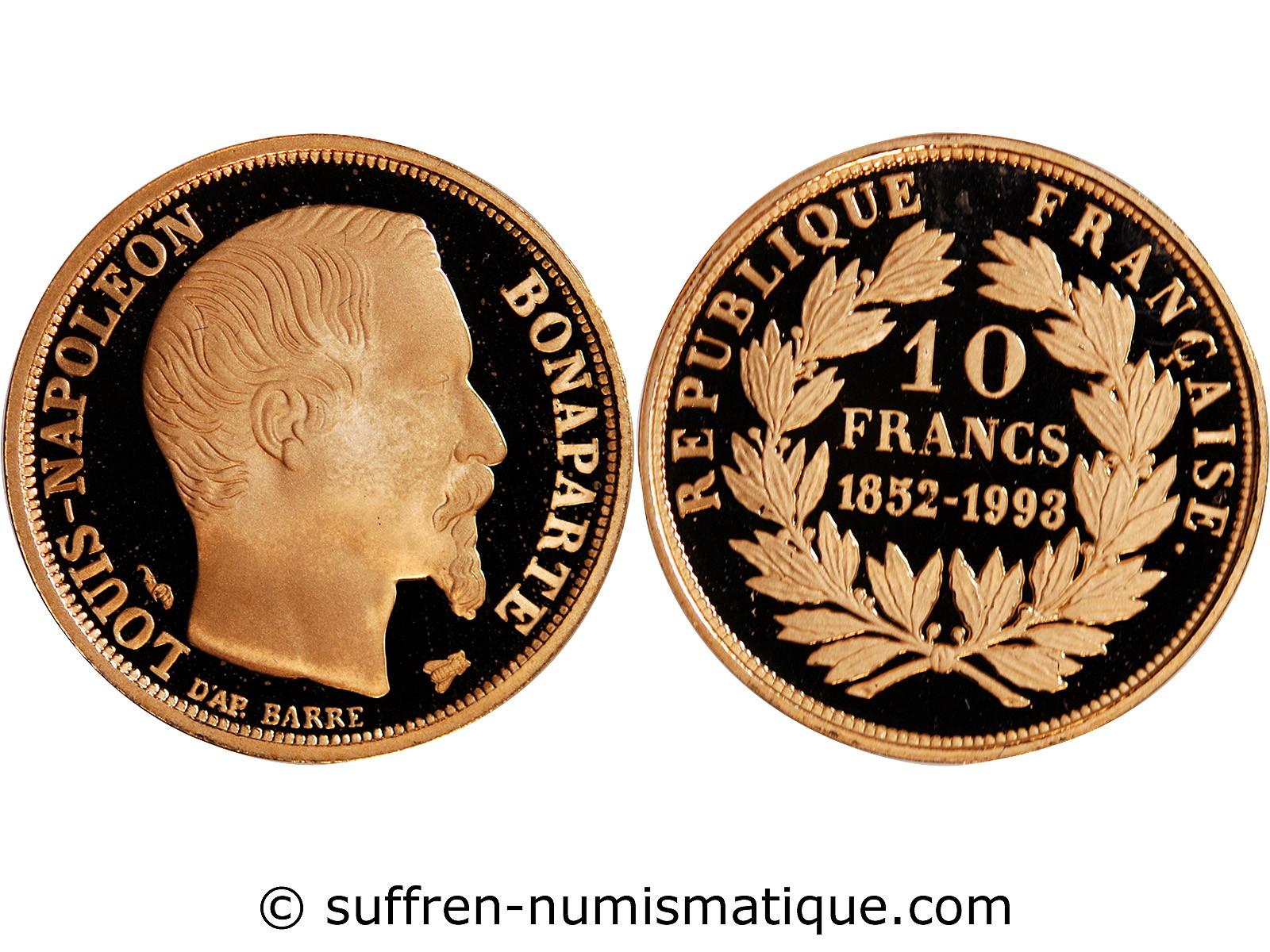louis napoleon bonaparte 10 francs or 1852 1993. Black Bedroom Furniture Sets. Home Design Ideas