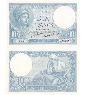 10 FRANCS MINERVE 11.08.1932