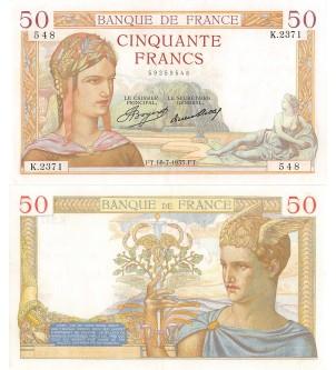 50 FRANCS CERES 08.07.1935