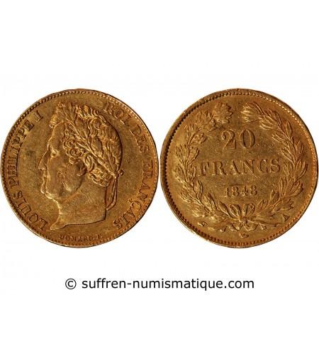 LOUIS PHILIPPE Ier - 20 FRANCS OR 1848 A PARIS