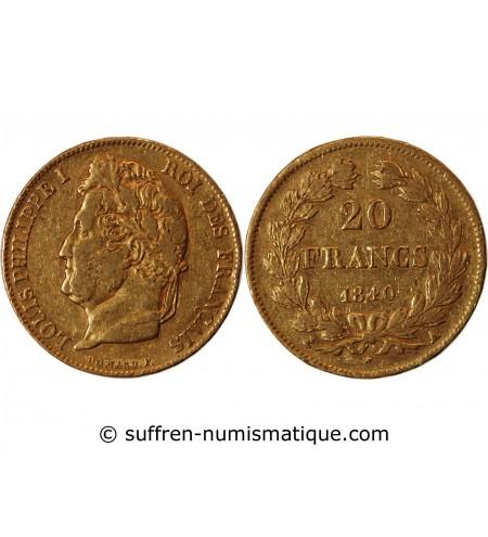 LOUIS PHILIPPE Ier - 20 FRANCS OR 1840 A PARIS