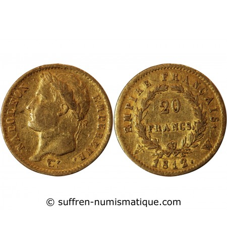 NAPOLEON Ier - 20 FRANCS OR 1812 W LILLE