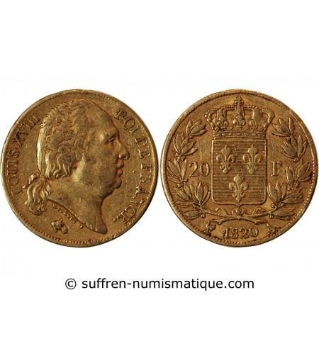 LOUIS XVIII - 20 FRANCS OR 1820 A PARIS