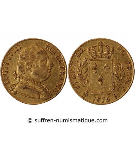 LOUIS XVIII - 20 FRANCS OR 1815 R LONDRES