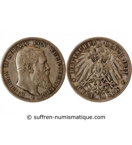 ALLEMAGNE, WUERTTEMBERG, WILHELM II - 3 MARK ARGENT 1911