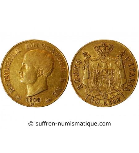 ITALIE, NAPOLEON 1er - 40 LIRE OR 1808 M MILAN