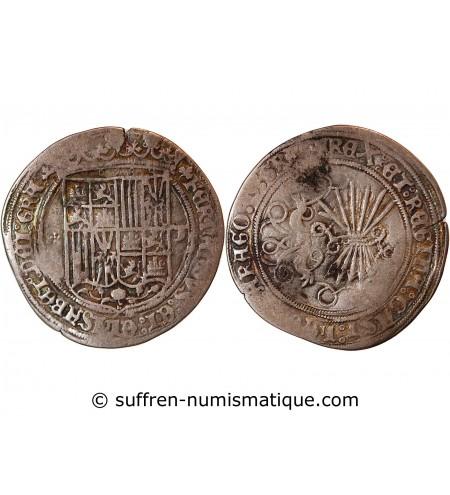 ESPAGNE, ROI CATHOLIQUES, FERDINAND & ISABELLE - 1 REAL ARGENT 1474 / 1504 TOLEDE