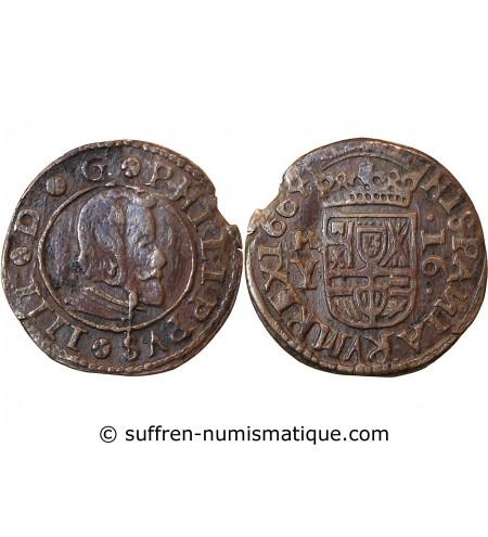 ESPAGNE, PHILIPPE IV - 16 MARAVEDIS 1664 MARDID
