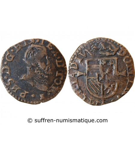 PAYS-BAS ESPAGNOL, PHILIPPE II - MAILLE TOURNAI 1591 / 1598
