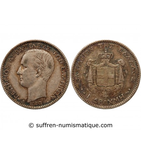 GRECE, GEORGE Ier - DRACHME ARGENT 1873 A