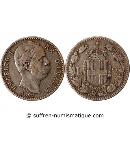 ITALIE, UMBERTO Ier - 2 LIRE ARGENT 1882