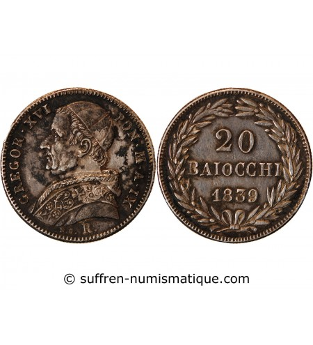VATICAN, GREGOIRE XVI - 20 BAIOCCHI ARGENT 1836
