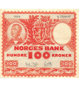 NORVEGE - 100 KRONER 1959