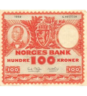 NORVEGE - 100 KRONER 1958