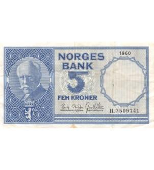 NORVEGE - 5 KRONER 1960