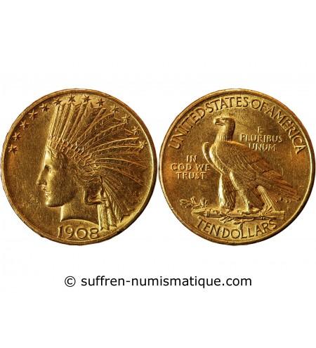 USA, INDIEN - 10 DOLLARS OR 1908 PHILADELPHIE