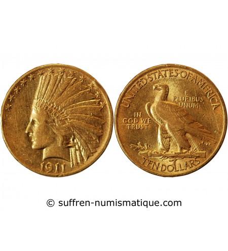 USA, INDIEN - 10 DOLLARS OR 1911 PHILADELPHIE