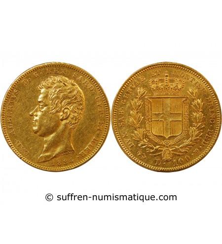 ITALIE, SARDAIGNE, CHARLES ALBERT - 100 LIRE OR 1834 GENES