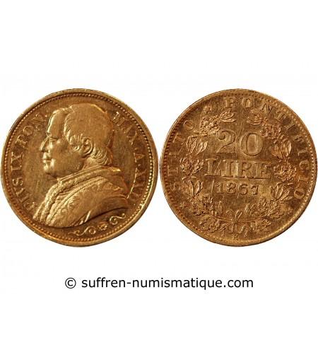 VATICAN, PIUS IX - 20 LIRE OR 1867 ROME MA XXII