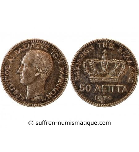 GRECE, GEORGE Ier - 50 LEPTA 1874