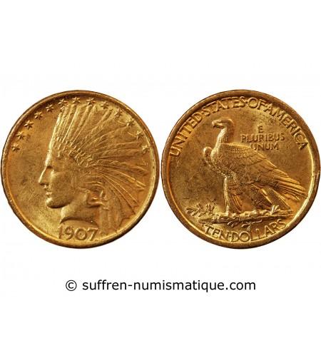 USA - INDIEN 10 DOLLARS OR 1907 PHILADELPHIE