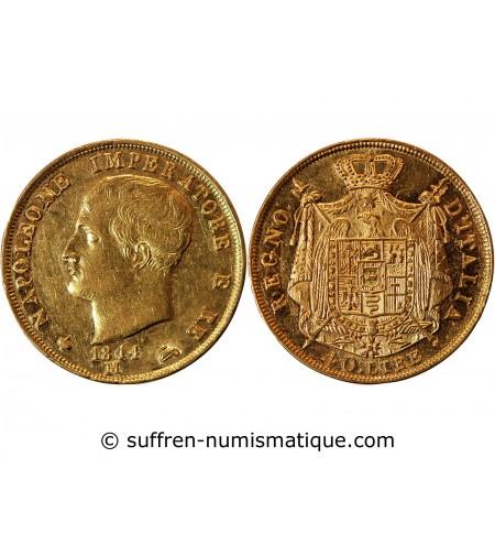 """ITALIE, NAPOLEON 1er - 40 LIRE OR 1814 M MILAN """"Variété 1814/80"""""""
