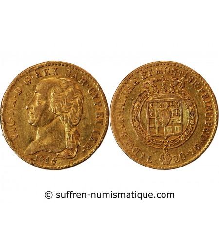 ITALIE, VICTOR EMMANUEL Ier - 20 LIRE OR 1820 TURIN