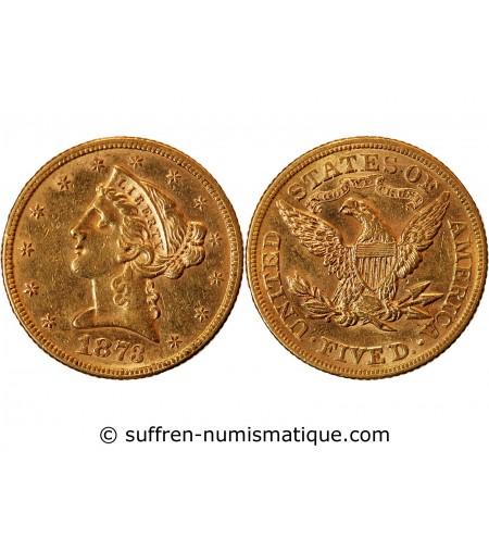 USA, LIBERTY - 5 DOLLARS OR 1873 PHILADELPHIE