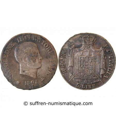 ITALIE, NAPOLEON 1er - 5 LIRE ARGENT 1808 M MILAN