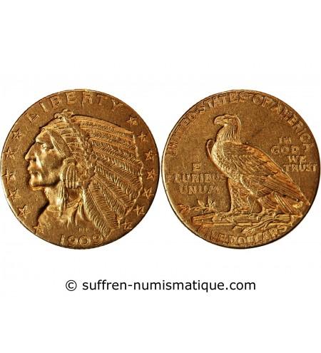 USA, INDIEN - 5 DOLLARS OR 1909 D DENVER