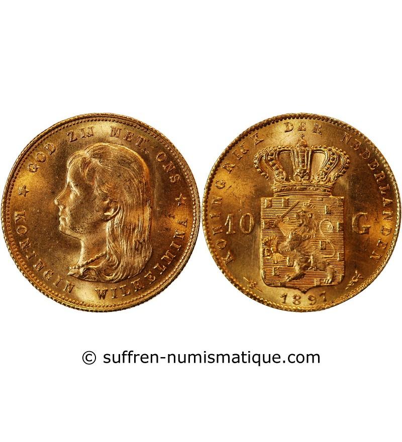 PAYS-BAS, WILHELMINA - 10 GULDEN OR 1897