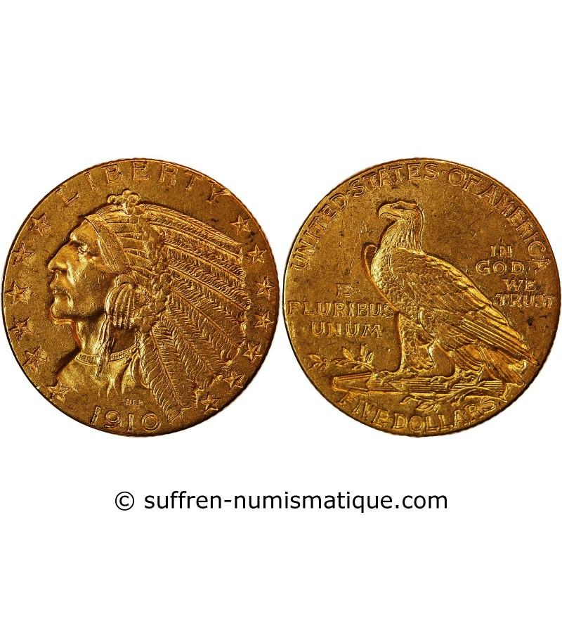 USA, INDIEN - 5 DOLLARS OR 1911 PHILADELPHIE