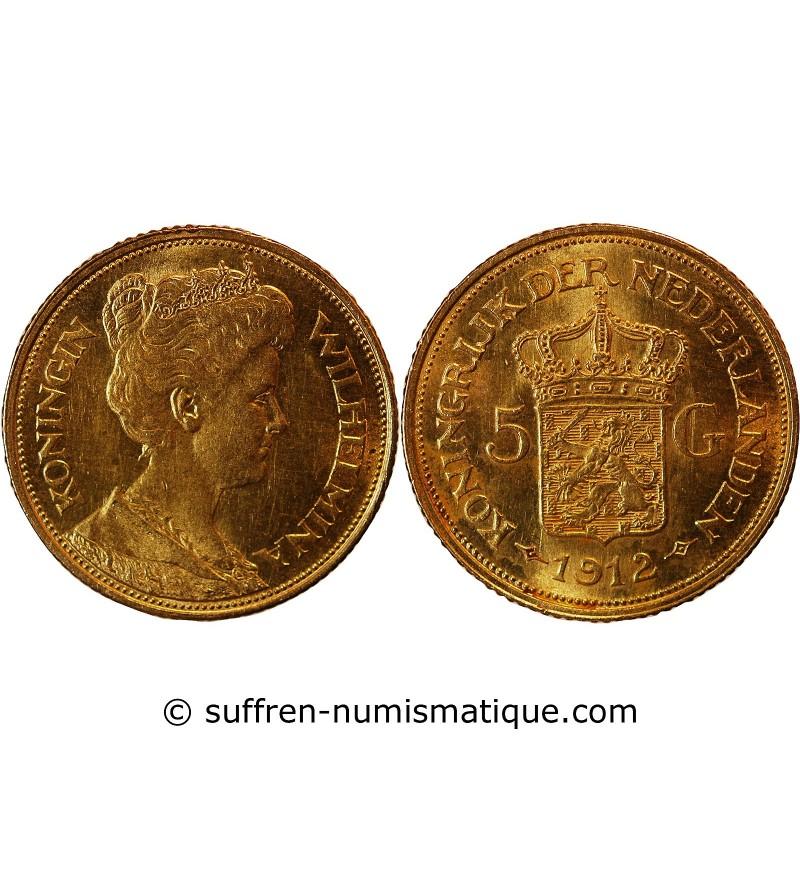 PAYS-BAS, WILHELMINA - 5 GULDEN OR 1912