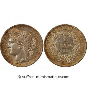 CERES - 1 FRANC ARGENT 1849...