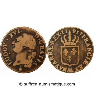 LOUIS XVI - SOL 1791 AA METZ