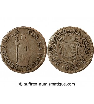 PEROU - 1/2 REAL ARGENT 1836