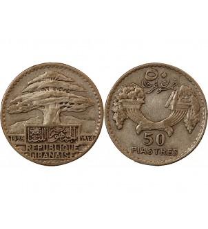 LIBAN - 50 PIASTRES ARGENT...