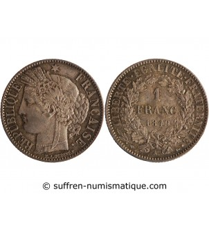 1 FRANC CERES  1849 A PARIS