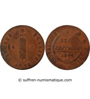 HAITI - 2 CENTIMES 1846