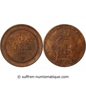 SUÈDE, OSCAR II - 5 ÖRE 1881