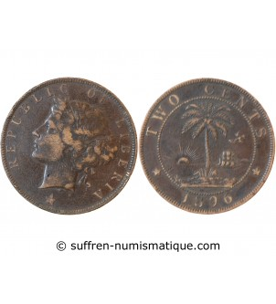 LIBERIA - 2 CENTS 1896 H