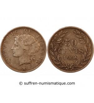 LIBERIA - 50 CENTS ARGENT...