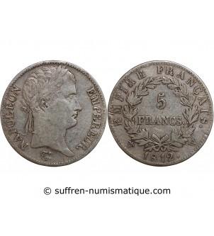 5 FRANCS NAPOLEON I  1812 W...