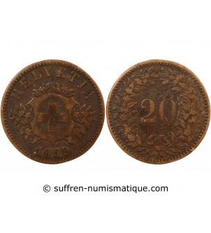 SUISSE - 20 CENTIMES 1859 B...