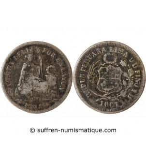 PEROU - 1/5 SOL ARGENT 1867 YB