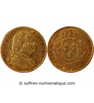 LOUIS XVIII - 20 FRANCS OR...