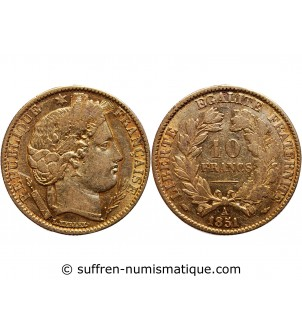 10 FRANCS OR CERES 1851 A...